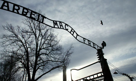 The sign at the Auschwitz museum