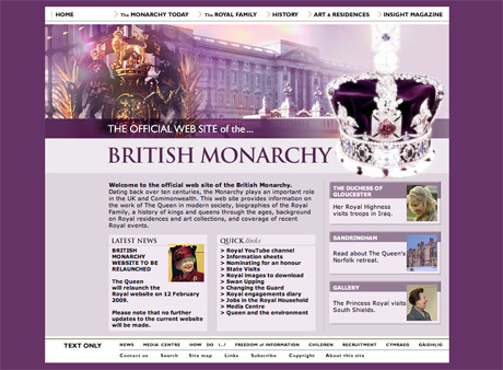 image of the British Royalty website