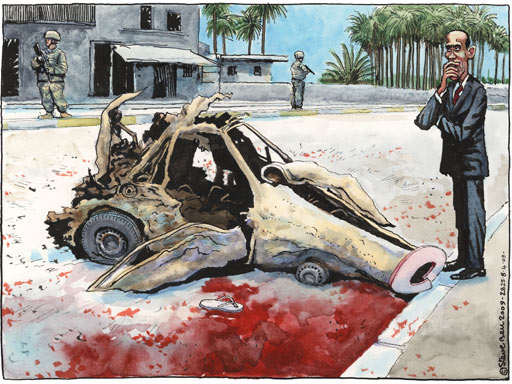 Steve Bell cartoon on Obama's Iraq visit
