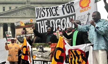 Members of Nigeria's Ogoni community protest against Shell in New York