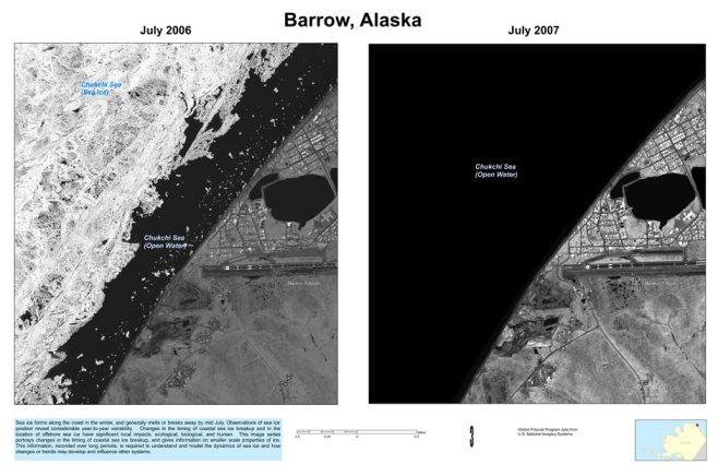 Image satellite de la banquise, en juillet 2006 et juillet 2007, montrant le retrait de la glace pendant lété. Photo : Public Domain