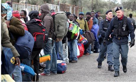 Immigrants leaving Rosarno