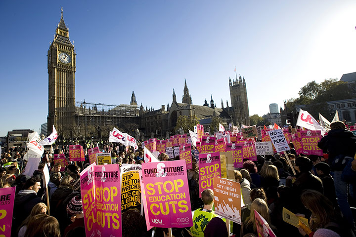 Students protest: Students gather in outside Parliament, London to protest over tuition fees