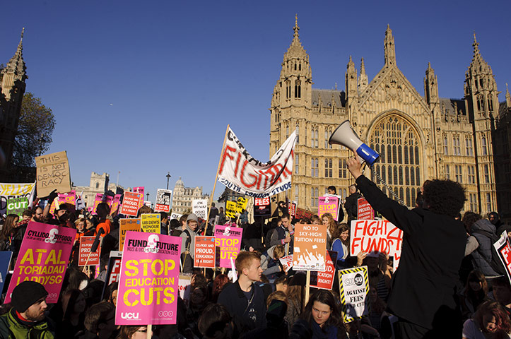 Students protest: Students demonstrate against higher tuition fees outside Parliament