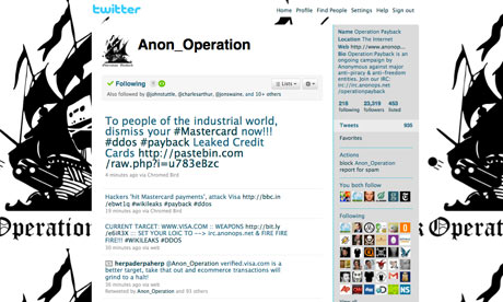 Operation Payback Twitter screengrab