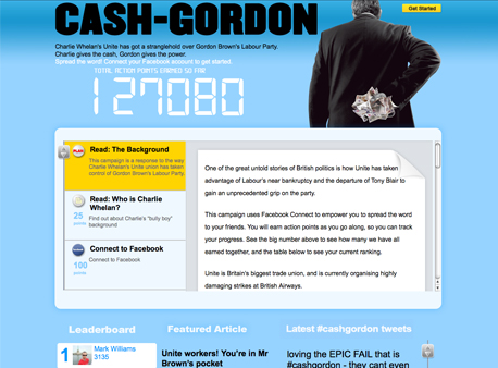 cash-gordon.com, the Conservative's campaign site attacking Labour's links with Unite