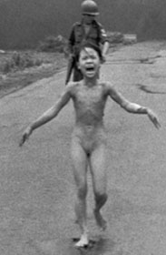 Nine-year-old Kim Phuc after an aerial napalm attack in south  Vietnam. Photograph: Nick Ut/AP