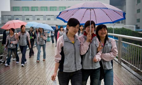 Workers at the Foxconn factory in Shenzhen, China