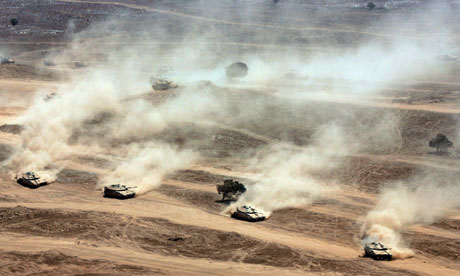 Israeli army brigade exercise on the Golan Heights