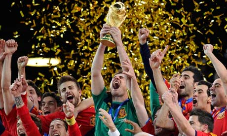 Spain's captain Iker Casillas lifts the World Cup trophy.