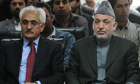Dr Rangin Dadfar Spanta and president Hamid Karzai