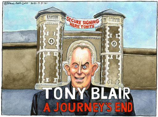 Blair book signing, cartoon by Steve Bell
