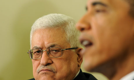 Palestinian president Mahmoud Abbas with US president Barack Obama