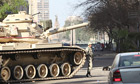 Egyptian army tank near the US embassy in central Cairo on 30 January 2011