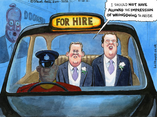 Liam Fox and Werritty, cartoon