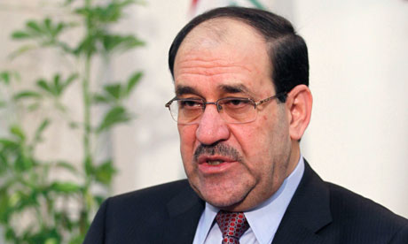Iraq's Prime Minister Nuri al-Maliki speaks during an interview with Reuters in Baghdad