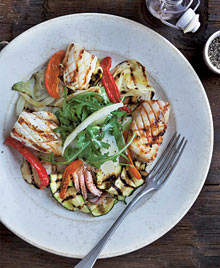 Salad of grilled squid and Provençal vegetables