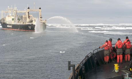 Japanese whaling fleet's mother ship, the Nisshin Maru, seen from Sea Shepherd vessel the Bob Barker