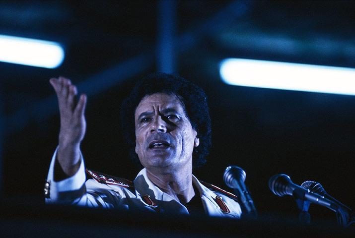 Muammar Gaddafi : September 1987: Libyan leader Gaddafi makes a speech