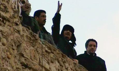 Muammar Gaddafi in a televised adress