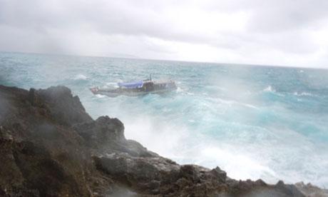 An asylum seeker boat approaches Christmas Island