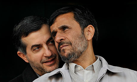 Iran's president Mahmoud Ahmadinejad and his chief of staff, Esfandiar Rahim Mashaei.