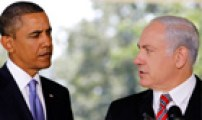 US President Obama listens as Israeli PM Netanyahu
