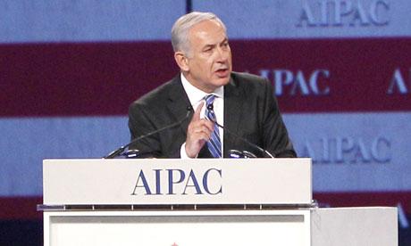 Binyamin Netanyahu addresses the American Israel Public Affairs Committee gala dinner in Washington