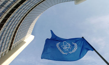 IAEA flag flatters in the wind in front