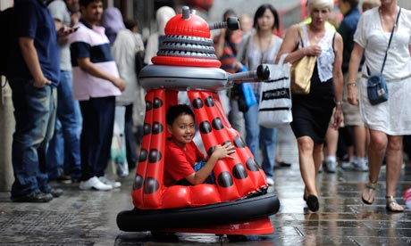Inflatable Dalek outside Hamleys toy store