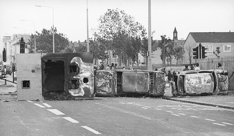 Toxteth Riots: The remains of a barricade on Upper Parliament Street