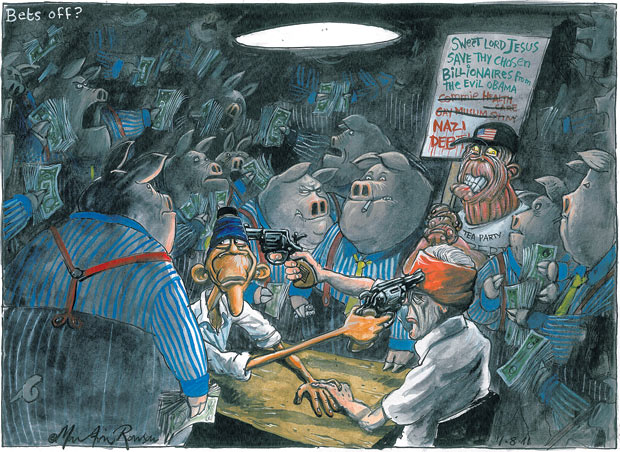 Martin Rowson cartoon, 31.07.2011