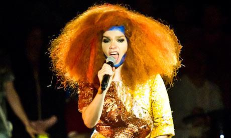 Björk on stage at the Manchester international festival