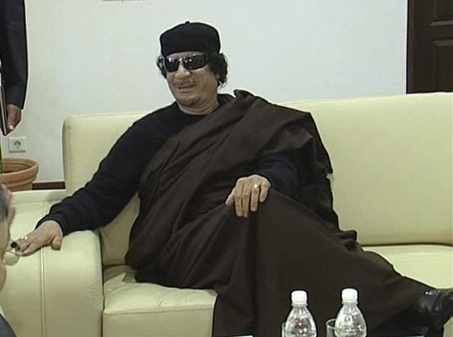 Gaddafi: 12 June 2011: A TV still of Muammar Gaddafi during a meeting