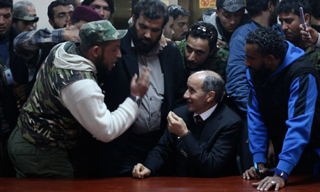 Mustafa Abdul Jalil talks to protesters in Benghazi
