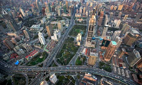 An aerial view shows the skyline of central Shanghai