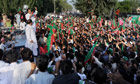 Imran Khan addresses supporters in Mianwali, Pakistan