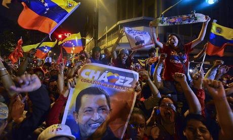 Supporters of Venezuelan president  Hugo Chavez