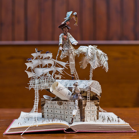 Book sculpture: Robert Louis Stevenson's Treasure Island