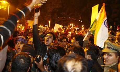 Indian protesters rally in Delhi following the cremation of  the 23-year-old gang-rape victim
