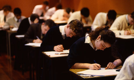 Students sitting A-level exams