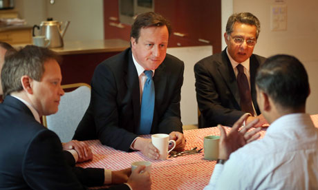 David Cameron and Grant Shapps discuss right-to-buy