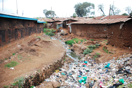 Waste gully in Kibera