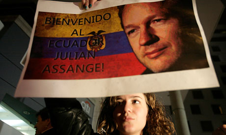 Julian Assange supporters protest at the British embassy in Quito
