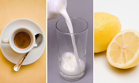 Incompatible food triad: espresso, milk, lemon juice