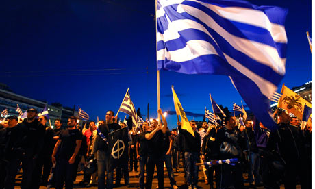 Supporters of the extreme-right Golden Dawn party in Athens