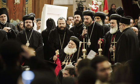 Coptic Christians at funeral of Pope Shenouda III in Cairo