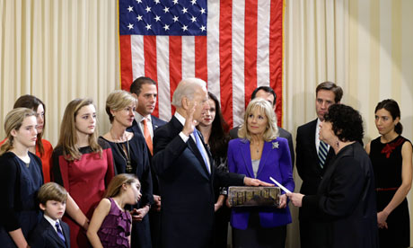 Vice-president Joe Biden takes the oath