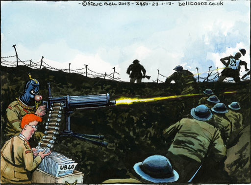 23.01.13: Steve Bell on defence cuts