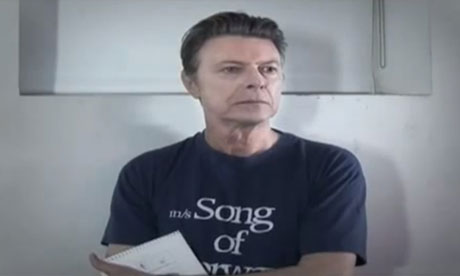 David Bowie in his music video for Where Are We Now?